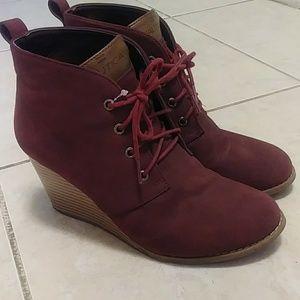 Burgundy Booties Heels | Wedges
